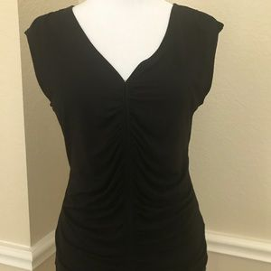 Black top, ruched front, cap sleeves.  Size M. $10
